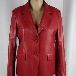 Red Leather Lapel Jacket Blazer Jacket size M